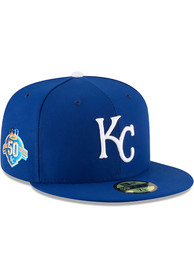 best service d9b62 574d1 Kansas City Royals New Era Blue 50th Anniversary Game AC 59FIFTY Fitted Hat