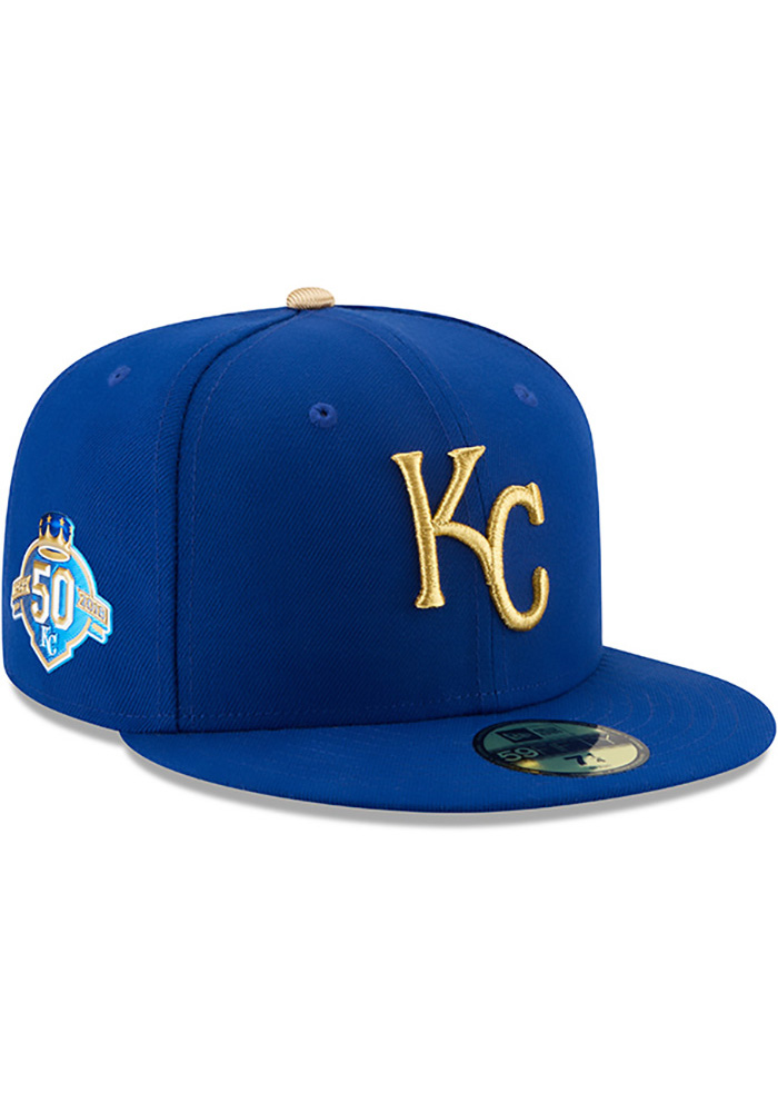 New Era Kansas City Royals Mens Blue 50th Anniversary Alt AC 59FIFTY Fitted Hat - Image 1