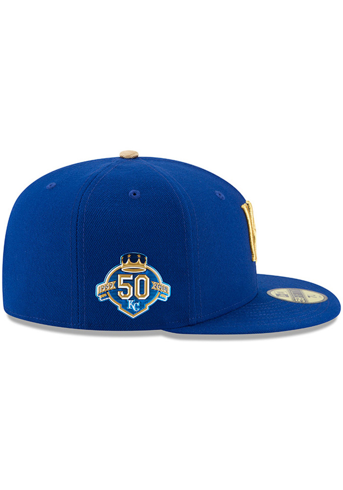 New Era Kansas City Royals Mens Blue 50th Anniversary Alt AC 59FIFTY Fitted Hat - Image 6
