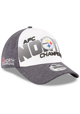 New Era Pittsburgh Steelers Mens Grey 2017 AFC North Champ LR 9FORTY Adjustable Hat