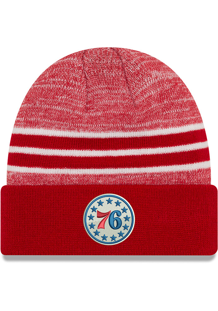 New Era Philadelphia 76ers Red Marled Cuff Mens Knit Hat - Image 1