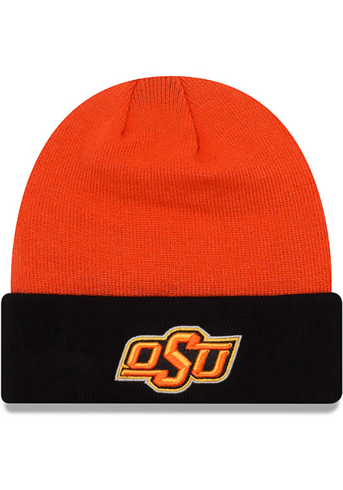 New Era Oklahoma State Cowboys Black Cuff Mens Knit Hat - Image 1