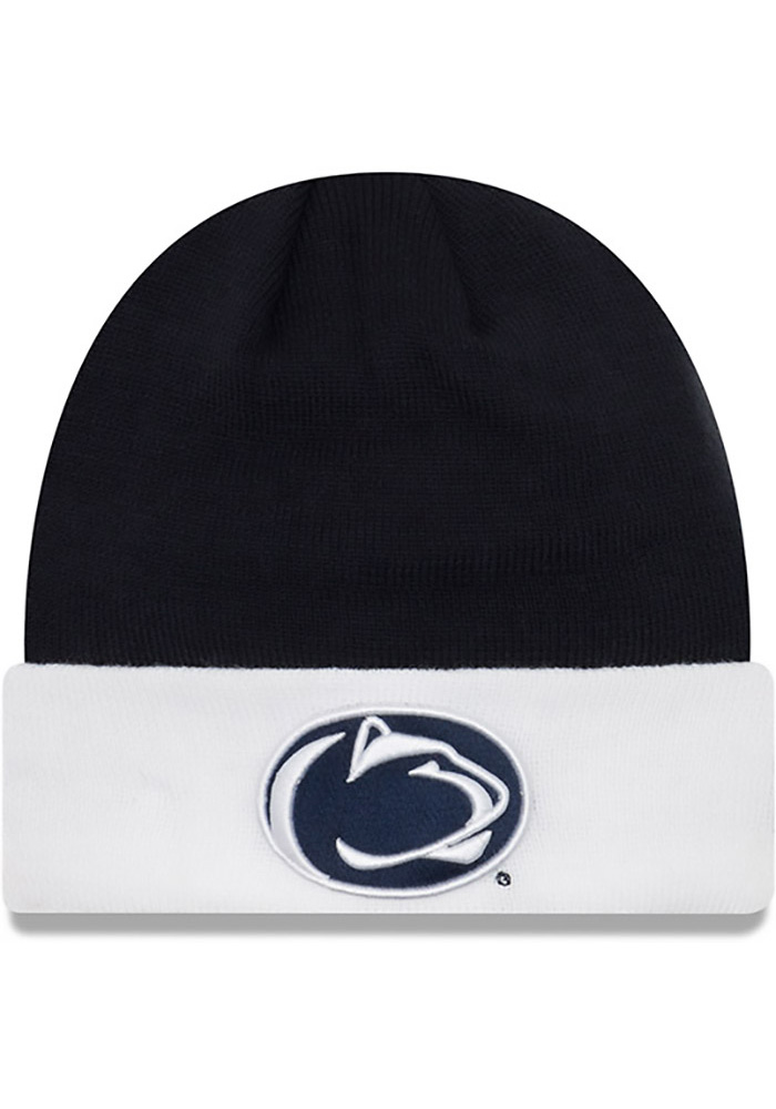 sports shoes 05c4a 3b77a top quality womens new era navy penn state nittany lions layered up 2  cuffed knit hat with pom eef03 b075c  get new era penn state nittany lions  navy blue ...
