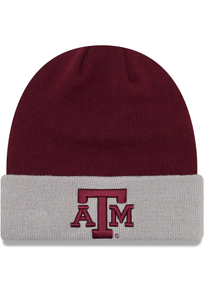New Era Texas A&M Aggies Maroon Cuff Mens Knit Hat - Image 1