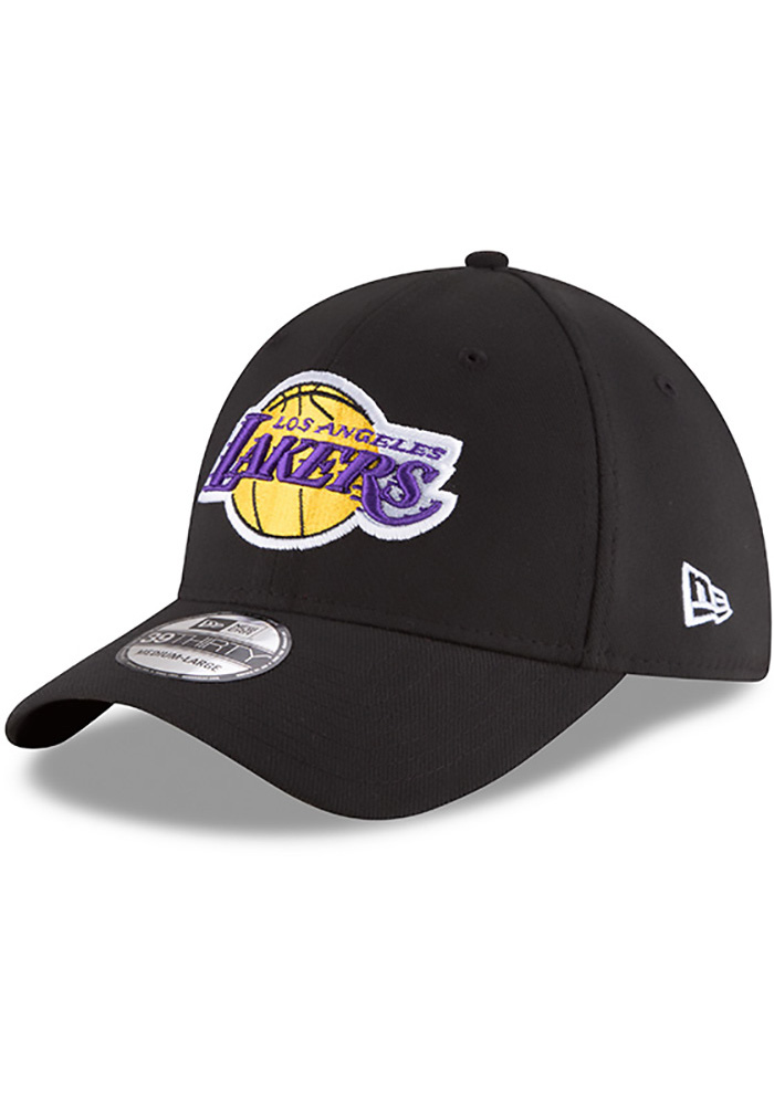 New Era Los Angeles Lakers Mens Black Team Classic 39THIRTY Flex Hat -  Image 1 ed291e00b