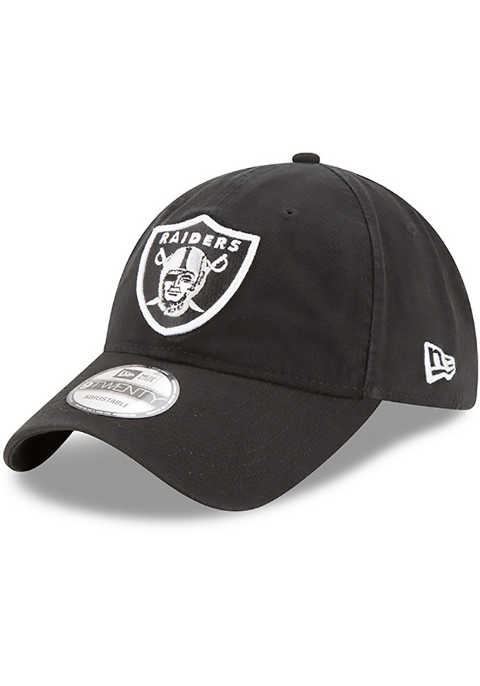 New Era Oakland Raiders Mens Black Core Classic 9TWENTY Adjustable Hat - Image 1