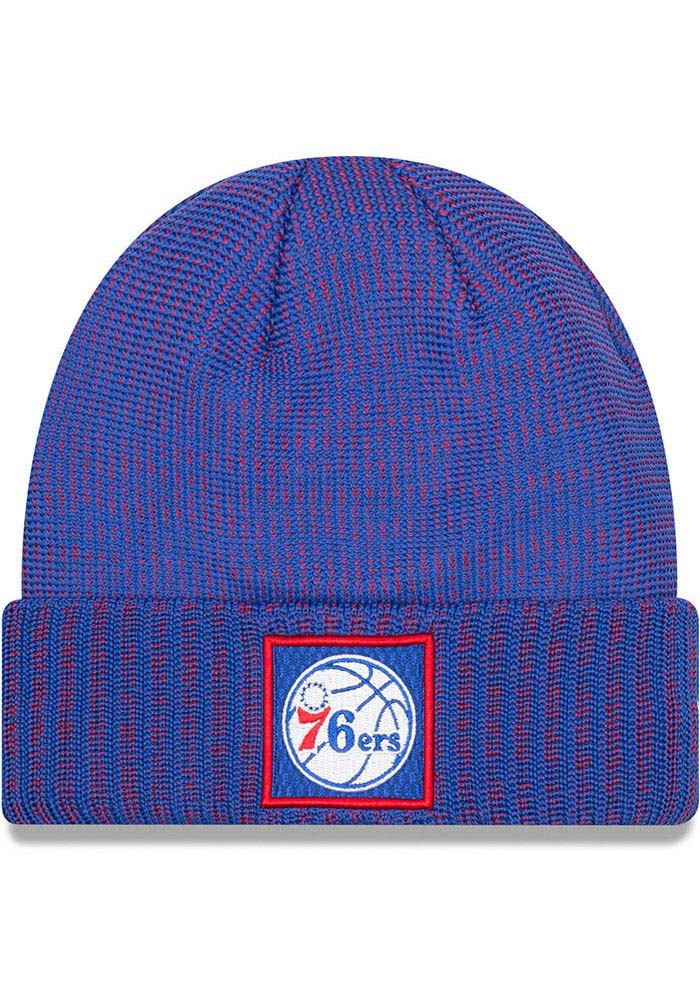 more photos e8100 359d1 ... where to buy new era philadelphia 76ers blue 2018 on court cuff mens knit  hat image ...