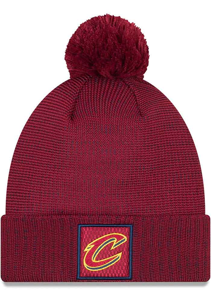 New Era Cleveland Cavaliers Maroon 2018 On-Court Pom Cuff Mens Knit Hat, Maroon, POLYESTER, Size OSFM