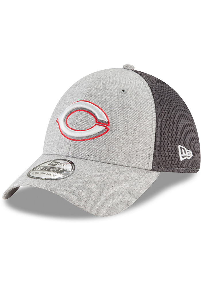 New Era Cincinnati Reds Mens Grey Heathered Neo Pop 39THIRTY Flex Hat - Image 1