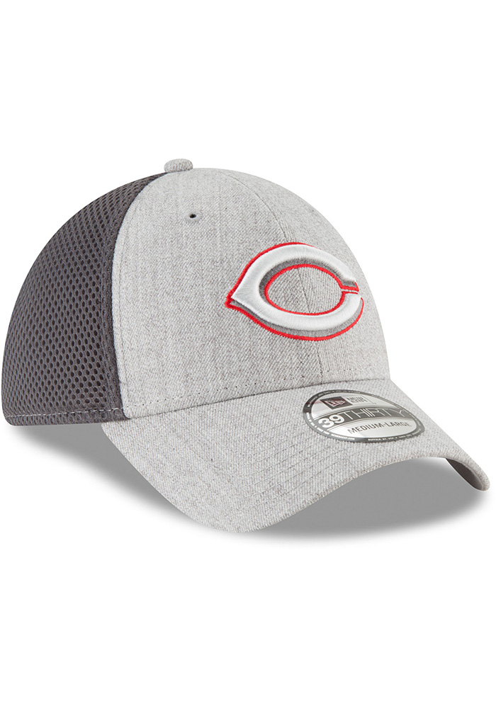 New Era Cincinnati Reds Mens Grey Heathered Neo Pop 39THIRTY Flex Hat - Image 2
