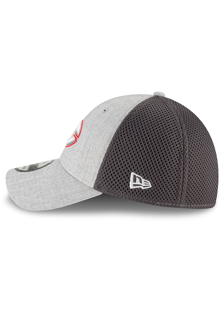 New Era Cincinnati Reds Mens Grey Heathered Neo Pop 39THIRTY Flex Hat - Image 4