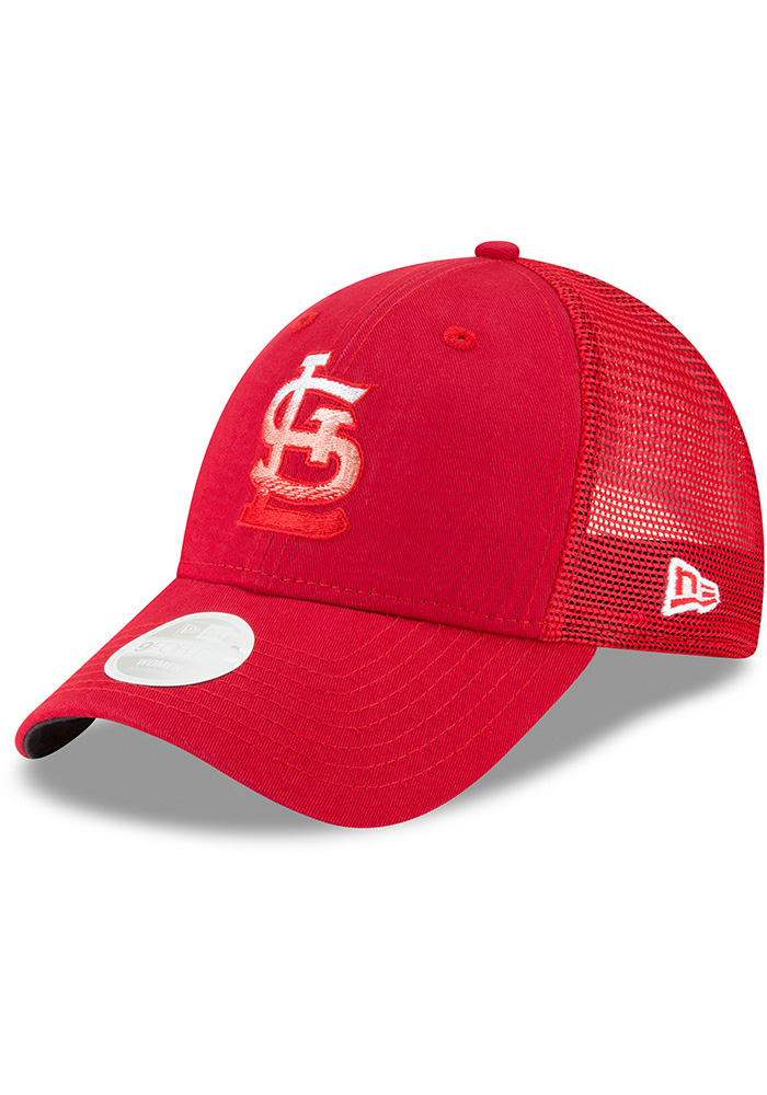 New Era St Louis Cardinals Red Faded Front Trucker 9FORTY Womens Adjustable Hat - Image 1