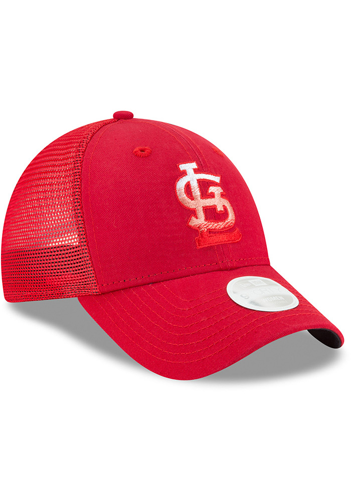 New Era St Louis Cardinals Red Faded Front Trucker 9FORTY Womens Adjustable Hat - Image 2