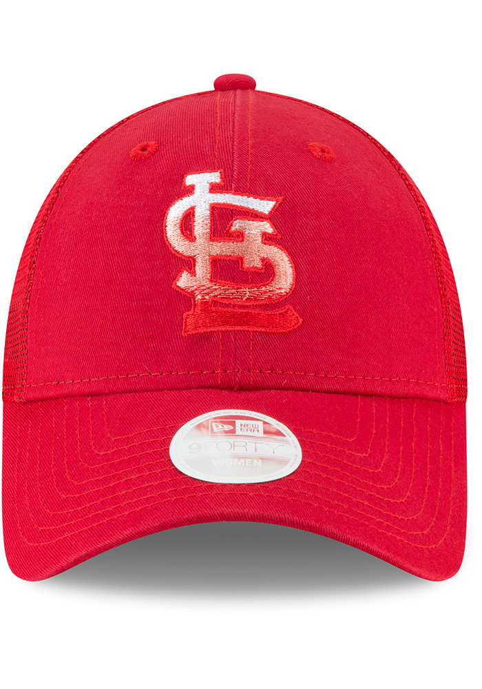 New Era St Louis Cardinals Red Faded Front Trucker 9FORTY Womens Adjustable Hat - Image 3