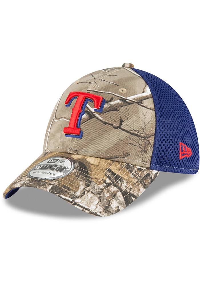 New Era Texas Rangers Mens Green Real Tree Neo 39THIRTY Flex Hat - Image 1