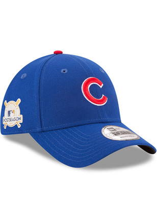 New Era Chicago Cubs Mens Blue 2017 Postseason Side Patch 9FORTY Adjustable Hat
