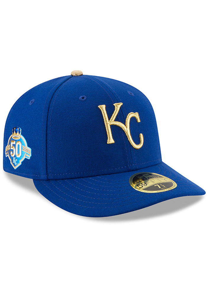 New Era Kansas City Royals Mens Blue 50th Anniversary Alt AC LP59FIFTY Fitted Hat - Image 1