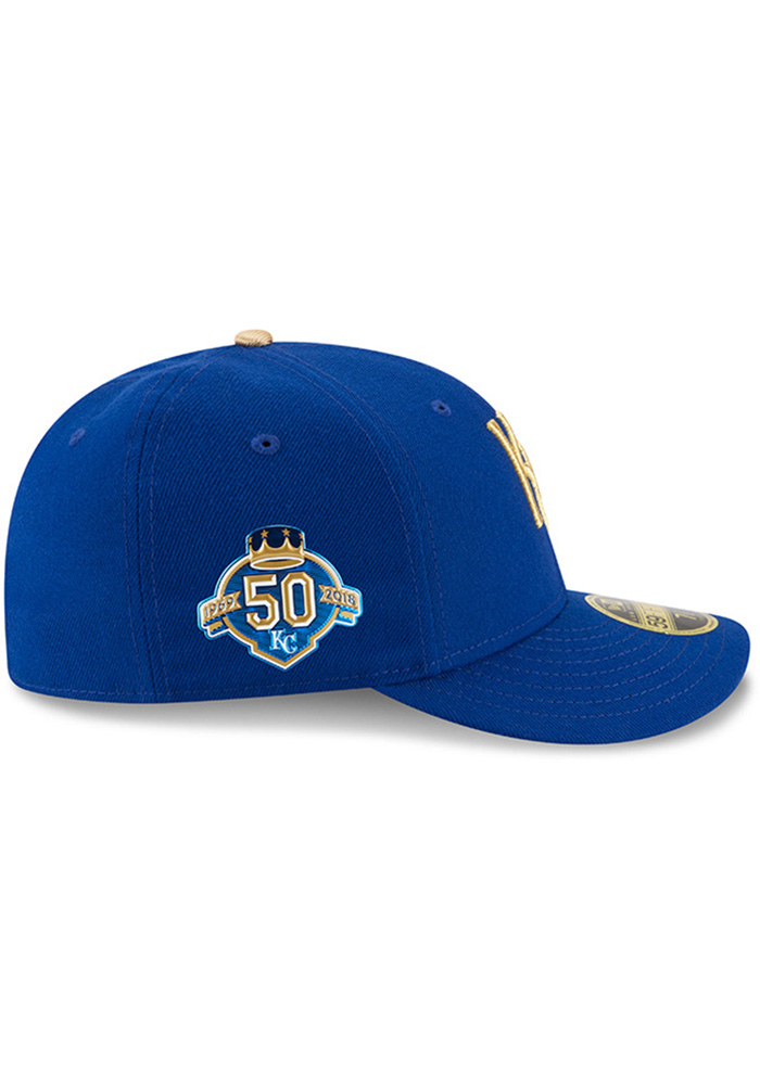 New Era Kansas City Royals Mens Blue 50th Anniversary Alt AC LP59FIFTY Fitted Hat - Image 6