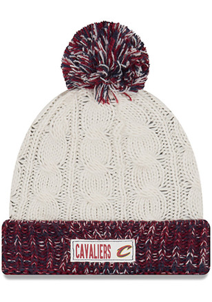 New Era Cleveland Cavaliers Womens White Rugged Tag Knit Hat