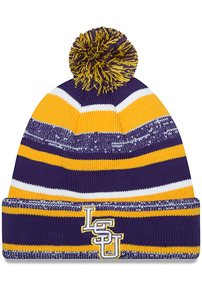 New Era LSU Tigers Purple Cuff Mens Knit Hat - Image 1