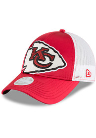outlet store 3d6ee 2650a New Era Kansas City Chiefs Womens Red Satin Chic 2 9FORTY Adjustable Hat