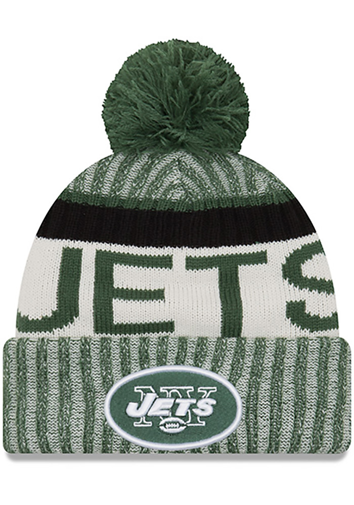 New Era New York Jets Green 2017 Official Sport Mens Knit Hat - Image 1