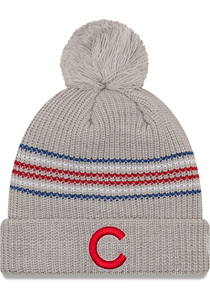 New Era Chicago Cubs Grey Snowy Stripe Womens Knit Hat - Image 1
