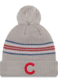 New Era Chicago Cubs Womens Grey Snowy Stripe Knit Hat