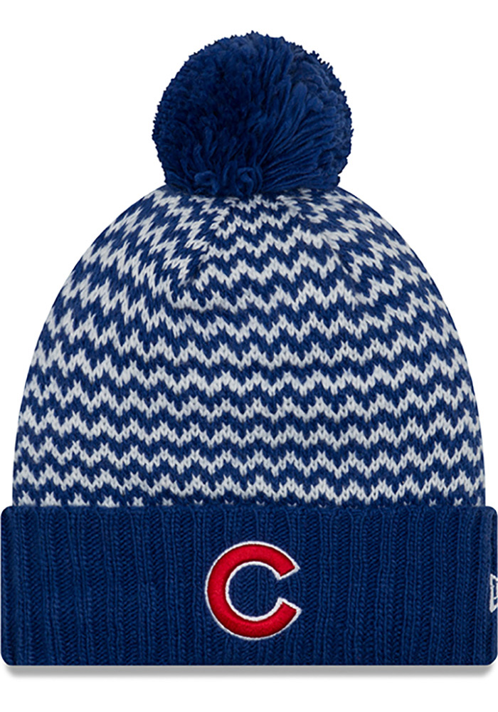 New Era Chicago Cubs Blue Patterned Pom Womens Knit Hat - Image 1