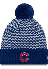 New Era Chicago Cubs Womens Blue Patterned Pom Knit Hat