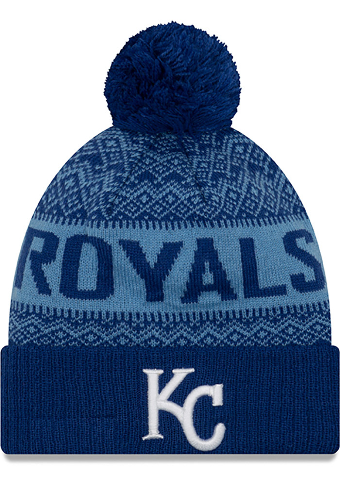New Era Kansas City Royals Blue Wintry Pom 3 Mens Knit Hat - Image 1
