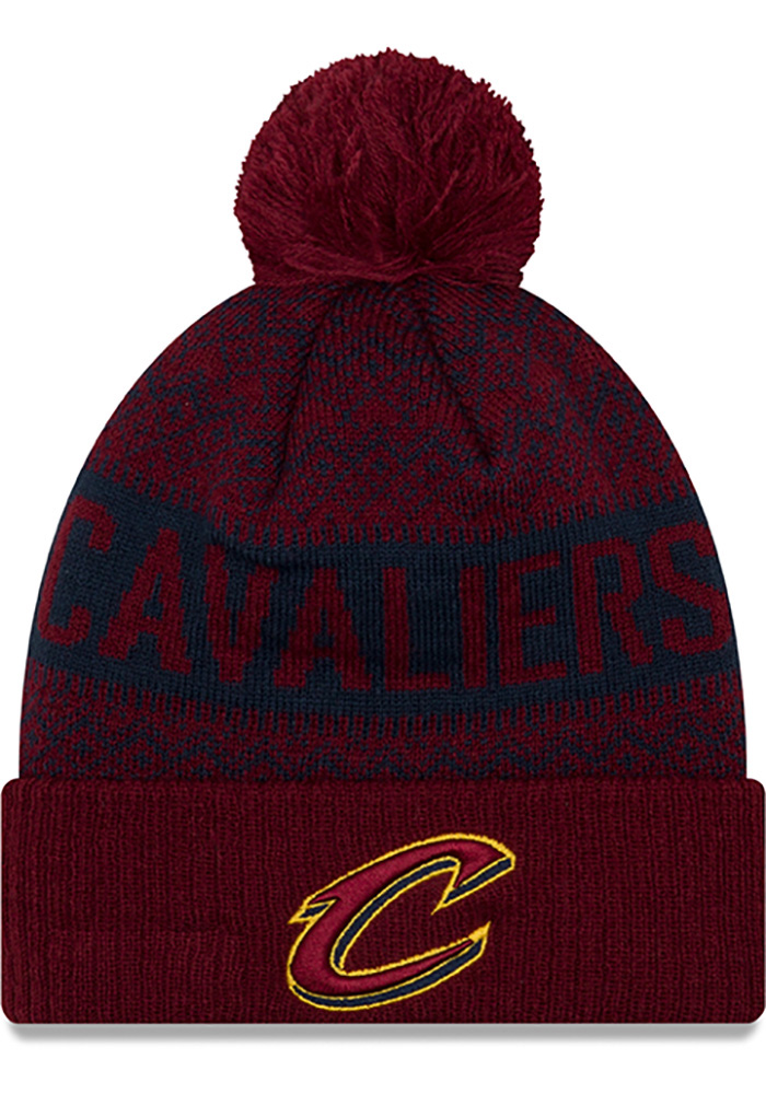 New Era Cleveland Cavaliers Maroon Wintry Pom 3 Mens Knit Hat - Image 1