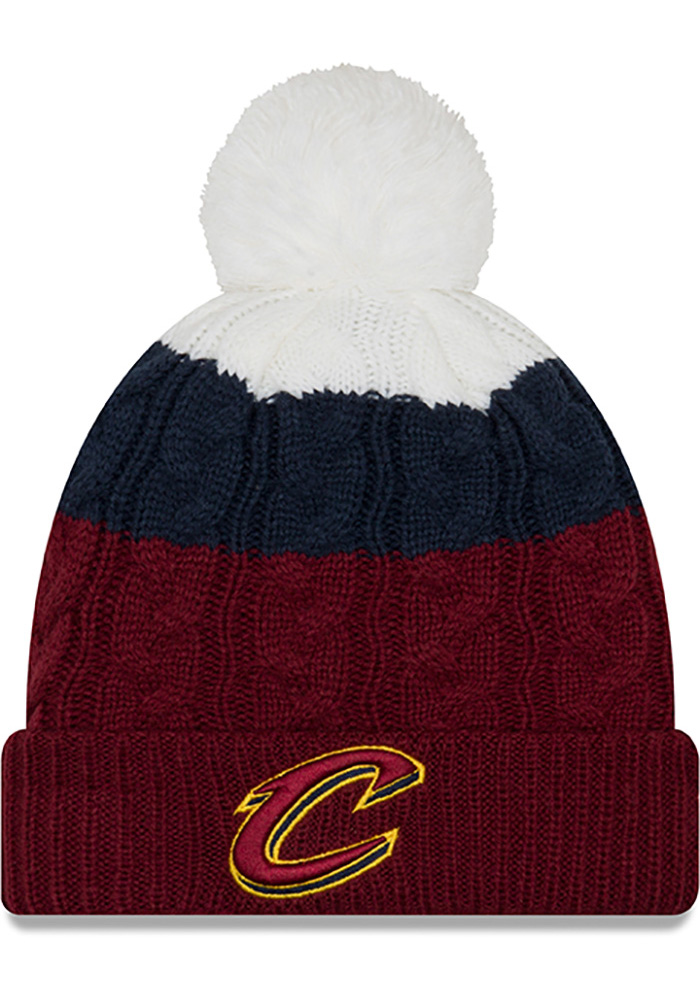 New Era Cleveland Cavaliers Maroon Layered Up 2 Womens Knit Hat - Image 1