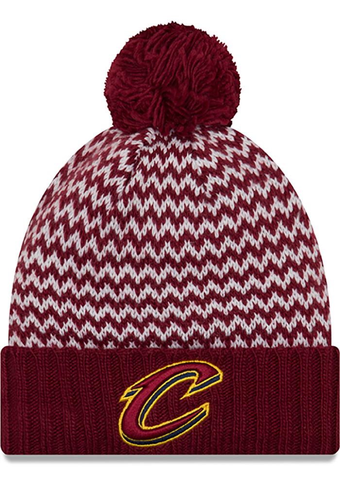 New Era Cleveland Cavaliers Maroon Patterned Pom Womens Knit Hat - Image 1