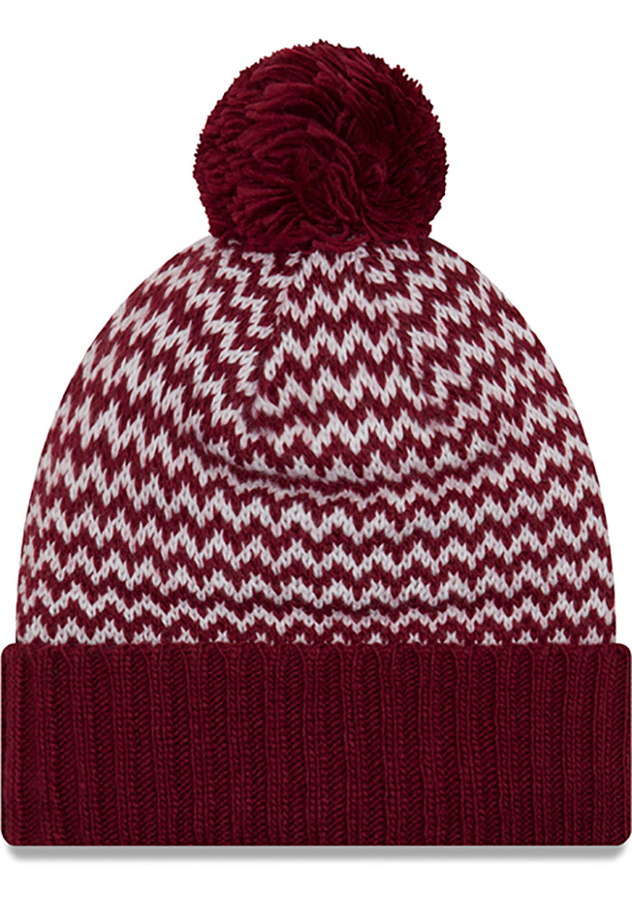 New Era Cleveland Cavaliers Maroon Patterned Pom Womens Knit Hat - Image 2