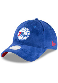 New Era Philadelphia 76ers Womens Blue Sassy Suede 9TWENTY Adjustable Hat