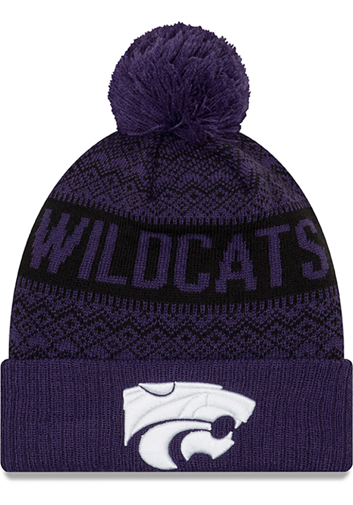 New Era K-State Wildcats Purple Wintry Pom 3 Mens Knit Hat - Image 1