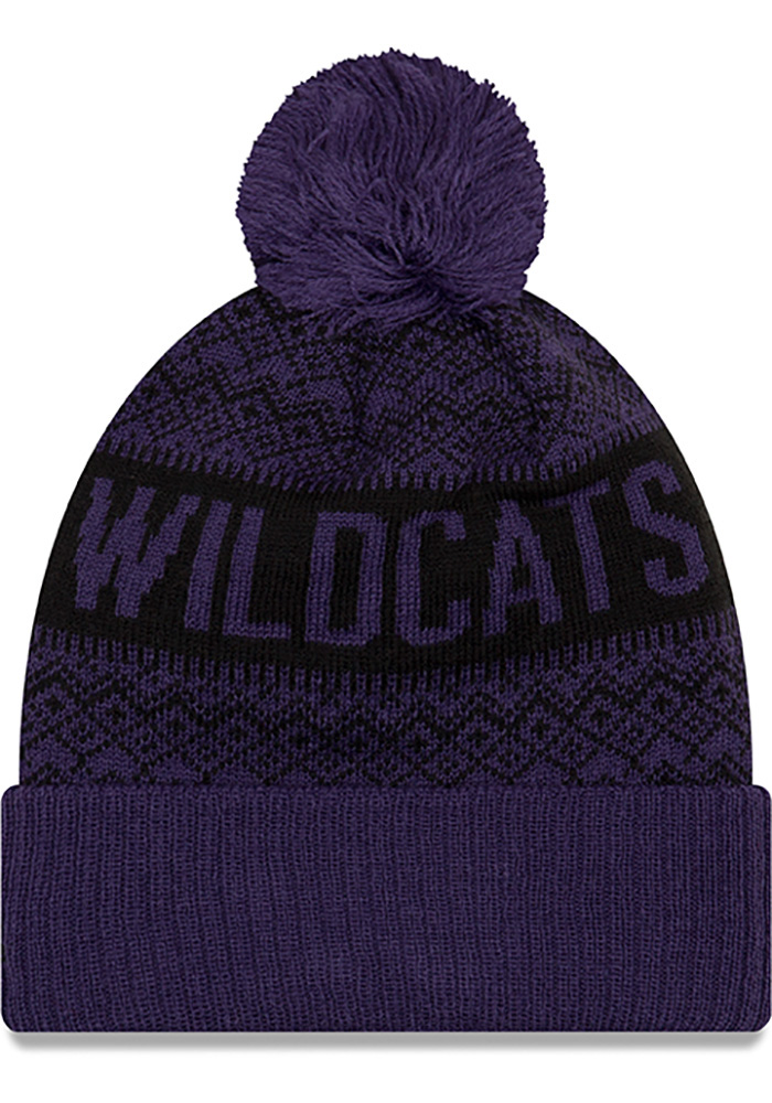 New Era K-State Wildcats Purple Wintry Pom 3 Mens Knit Hat - Image 2