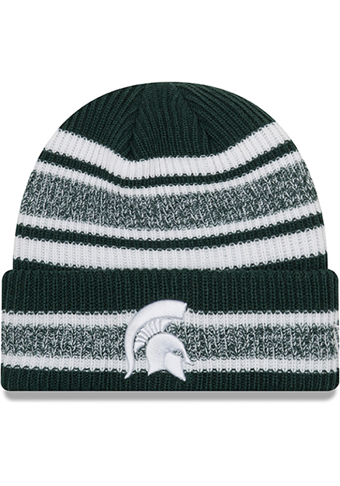 New Era Michigan State Spartans Green Vintage Stripe Mens Knit Hat - Image 1