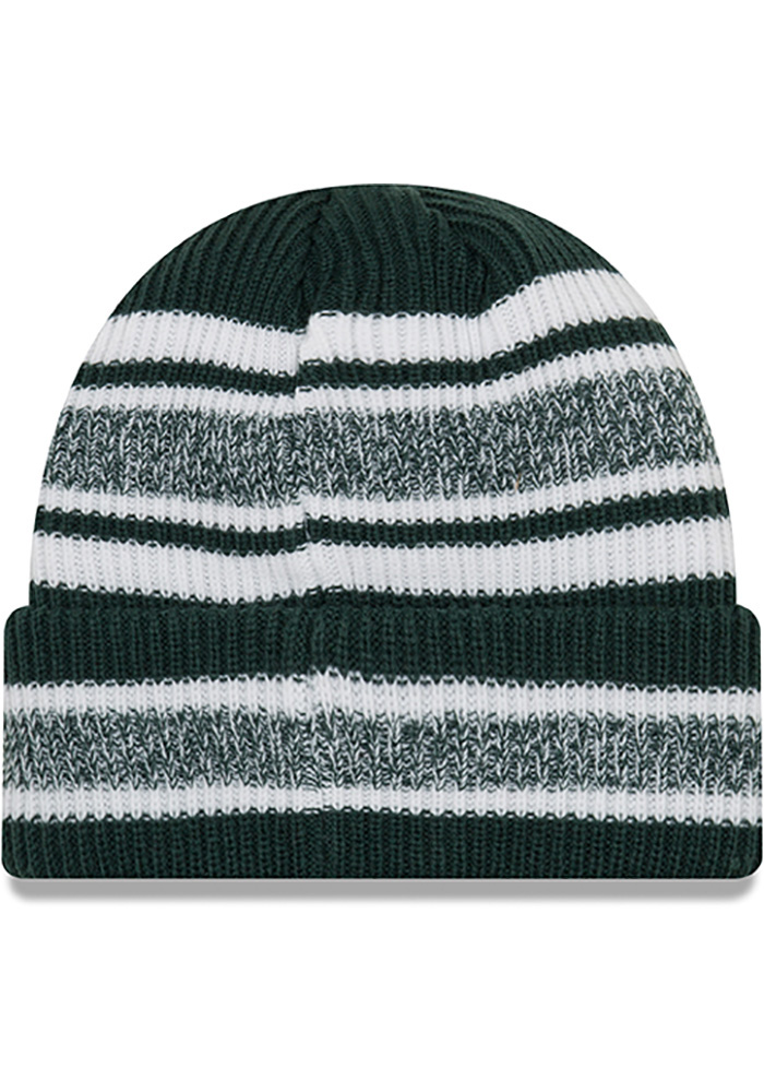 New Era Michigan State Spartans Green Vintage Stripe Mens Knit Hat - Image 2