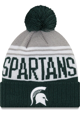 size 40 900af 235fb New Era Michigan State Spartans Green Team Pride Pom Knit Hat