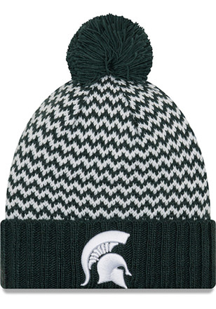 New Era Michigan State Spartans Womens Blue Patterned Pom Knit Hat 7e805c0e1