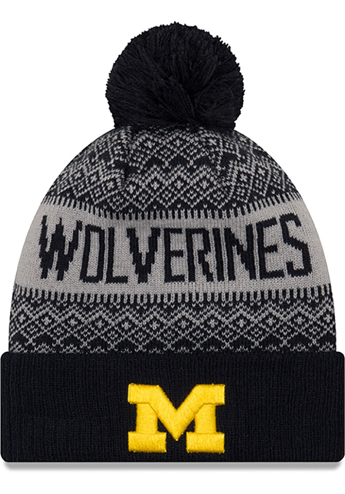 New Era Michigan Wolverines Navy Blue Wintry Pom 3 Mens Knit Hat - Image 1