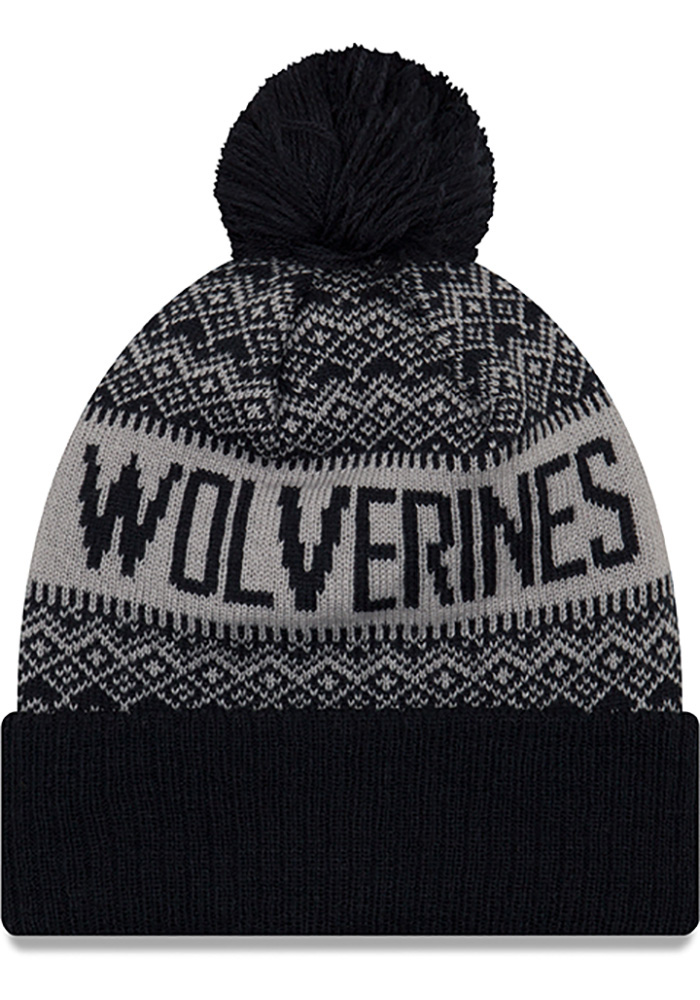 New Era Michigan Wolverines Navy Blue Wintry Pom 3 Mens Knit Hat - Image 2
