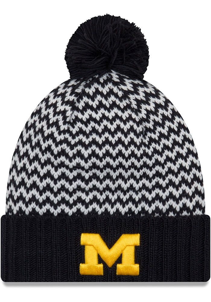 9605ed84 ... uk new era michigan wolverines womens navy blue patterned pom knit hat  bc0c0 0af2a