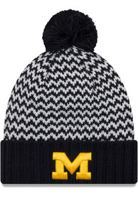 premium selection ed63e d42bc New Era Michigan Wolverines Womens Navy Blue Patterned Pom Knit Hat
