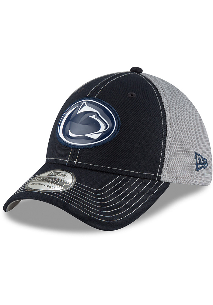 New Era Penn State Nittany Lions Mens Navy Blue Fan Mesh 39THIRTY Flex Hat - Image 1