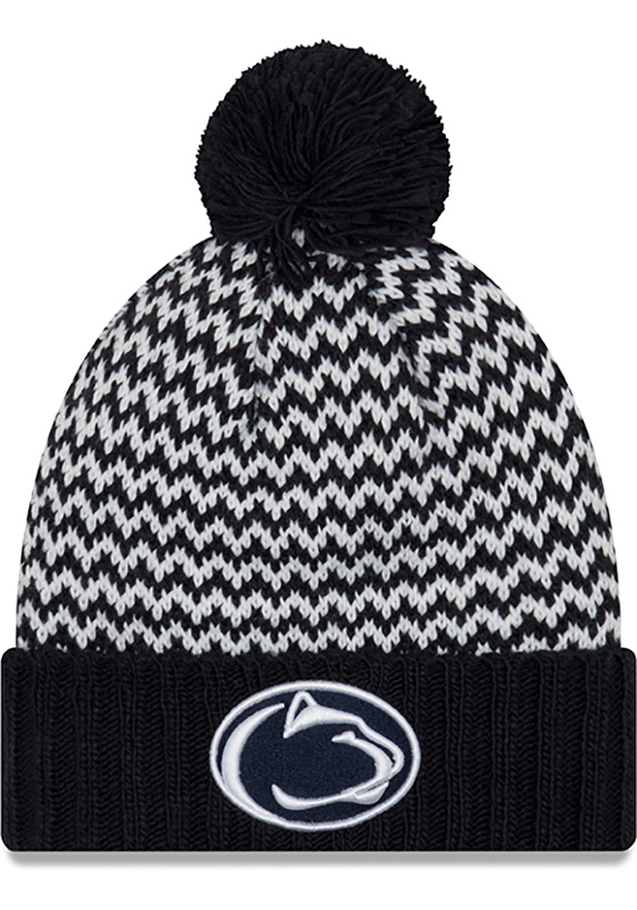 New Era Penn State Nittany Lions Navy Blue Patterned Pom Womens Knit Hat - Image 1