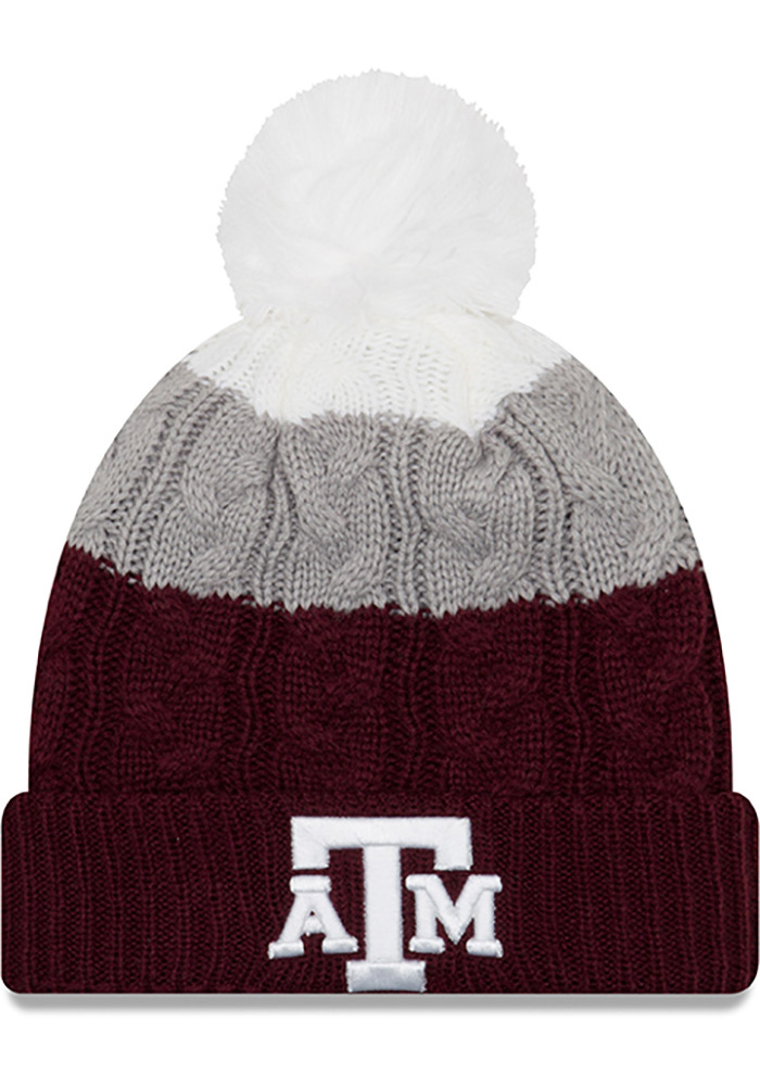New Era Texas A&M Aggies Maroon Layered Up 2 Womens Knit Hat - Image 1