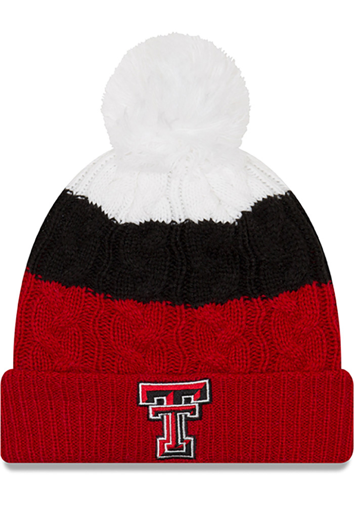 New Era Texas Tech Red Raiders Black Layered Up 2 Womens Knit Hat - Image 1
